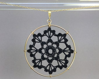 Scallops doily necklace, black silk thread, 14K gold-filled