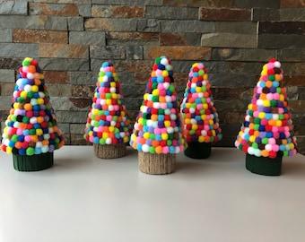 Handmade Pom Pom Christmas Trees
