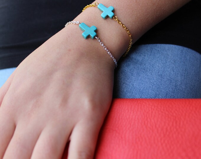 Sideways Cross Bracelet Turquoise Gold or Silver.
