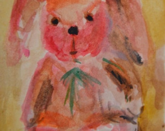 Original ACEO Watercolor Painting: My Bunny No. 7