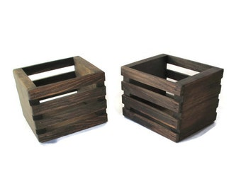 Small Wood Crates  Set of Two - Centerpiece or Planter - Country Wedding