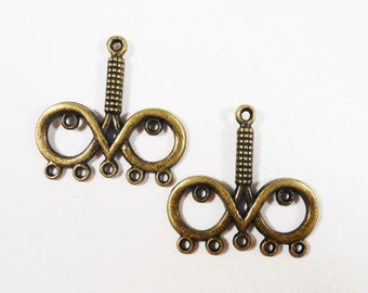 Bronze Chandelier Findings 26x28mm Antique Brass Multi Connector Charms, Chandelier Earring Findings, Earring Connector Pendants, 6pcs
