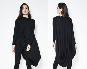 Black Tunic / Loose Fitting Top / Asymmetrical Blouse / Long Sleeve Tunic / Fashion Black Tunic / Unique Top / Marcellamoda - MB0103