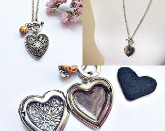 rustic heart locket necklace, perfume pendant, scent keepsake, oil diffuser, aromatherapy jewelry
