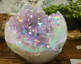 MASSIVE 3.5 POUND Angel Aura Quartz Geode Sphere, Free Shipping , Amethyst Aura Crystal Sphere, Crystal Geode Sphere