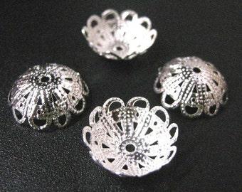24pc 18mm silver finish metal bead cap-1968