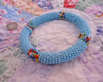 Vintage Robins Egg Blue Beaded Bangle Bracelet with Colorful accents
