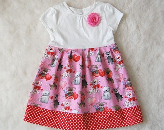Dress on sale, clearance**dogs, puppies, hearts, balloons, xoxo, polka dots**Pink dress**Size 2t, 3t, 4t**Handmade, boutique dress**Novelty