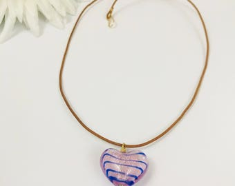 Glass Heart Leather Necklace
