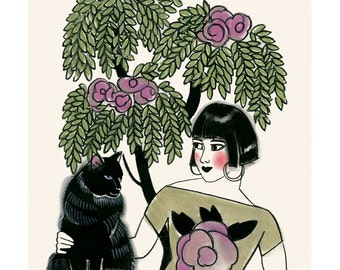 "Cat art -   Bridget and Bernard 4"" X 6"" print - 4 for 3 Sale"