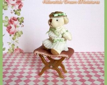 Dollhouse toy teddy bear 1/12 scale. Shabby/Victorian miniature teddy bear with handmade dress and hat. Nursery dollhouse lovely toy.