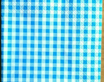 Pack of 20 turquoise gingham paper napkins