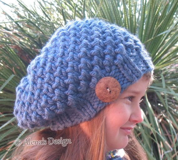 Knit Women's Slouchy Hat Hand Knitted Beret Children's Ladies Winter Hat Handmade Tan Beige Blue Gray Black Christmas Gift