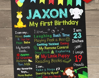 Jungle Theme First Birthday Chalkboard Sign - Personalized and Printable Birthday Poster, Jungle Birthday Centerpiece, Jungle Birthday Party