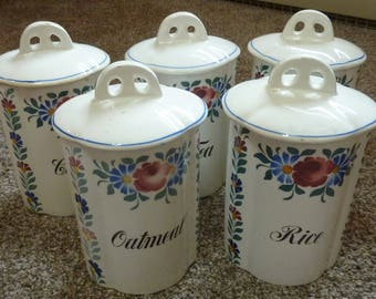 vintage German flowered canister set Coffee, Tea, Sugar, Oatmeal  and Rice