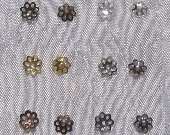 200 bead caps to choose 6mm spacer beads filigree silver grey golden bronze gunmetal copper * S16 * S34 * O104 * J134 * Q5 * U24
