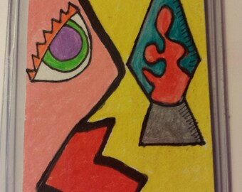 Lava Lamp, ACEO Abstract Oil Pencil on Watercolor paper