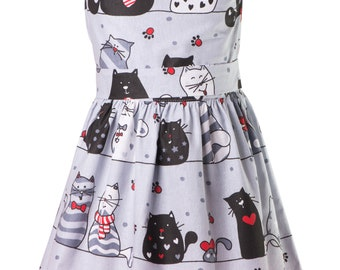Cotton dress for girls, Baby cotton dress with cats, cute cats, kids clothes, girls dresses, kittens, kitties.