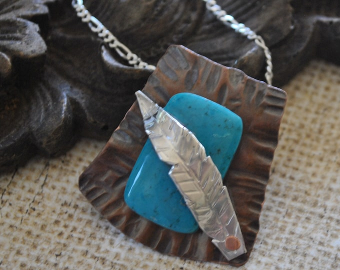 Turquoise and copper Pendant necklace, feather pendant, rustic, blue necklace, metal necklace