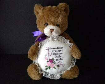 Grandma gift, plush bear, brown bear, special gift, holiday gift, embroidery