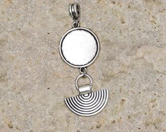 medium pendant for cabochon 20 mm half circle