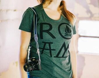 T Shirt for Women, PNW Hiking Shirt, Happy Camper Shirt, Graphic Tee Women, Outdoor Gift for Her, ROAM Adventure Camping Shirt, Forest Green