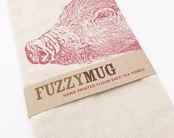 Pig Tea Towel, Bacon Towel, Pig Towel - Hand Printed Flour Sack Tea Towel (Unbleached Cotton)