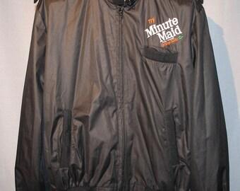 Vintage Black Try Minute Maid Orange Soda Bomber Jacket ! Size Large +