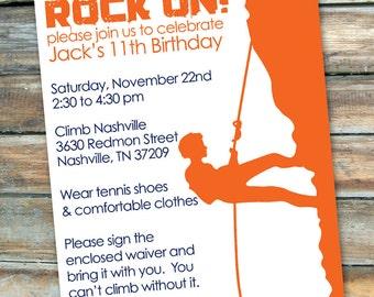 Rock Climbing - Rock On - Birthday Invitation