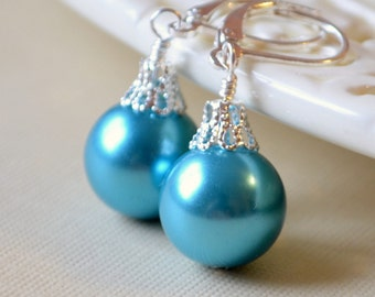 Bright Turquoise Earrings, Large Glass Pearls, Blue Christmas Balls, Silver Plated Lever Earwires, Fun Holiday Jewelry