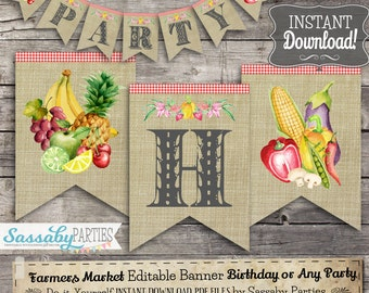 Farmers Market Party Banner - INSTANT DOWNLOAD - Editable & Printable Birthday Bunting Decoration by Sassaby Parties