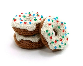 Toy Donut Crochet Donut Amigurumi Donuts Children's Toy for Children Gift Sweet Toy Decoration for Home - 3 pieces