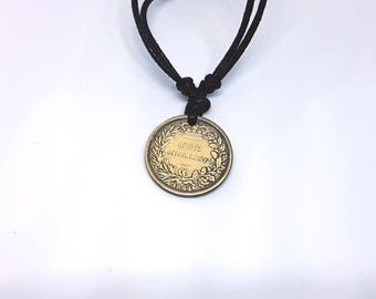 One Shilling Victorian Coin Replica Pendant Necklace, Syndicate Cosplay Necklace
