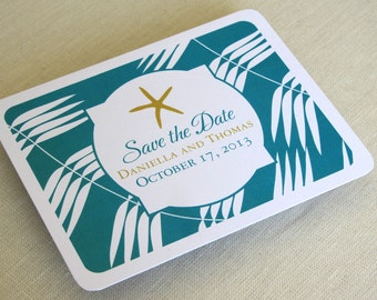 Starfish Beach Save the Date Postcard - Destination Wedding - Tropical Palm Leaves - SAMPLE