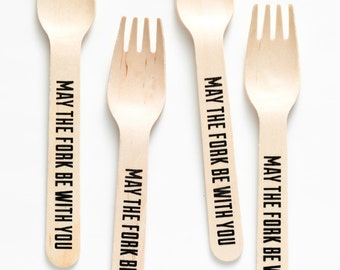 Star Wars - May The Fork Be With You -  Wooden Forks