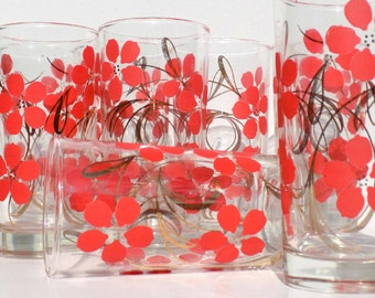 Mid Century Coral Pink and Gold Tumblers, Set of 8, Floral Bar Glasses, Golden Swirls and Pink Flowers