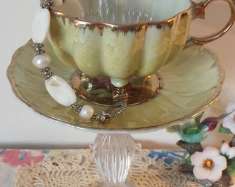 Vintage Del Coronado Tea Cup and Lead Crystal Trinket Dish/Jewelry Stand/Ring Dish~Upcycled China and Crystal~Home Decor~Jewelry Storage