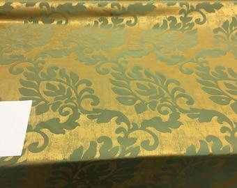 "Fabricut Green Gold Jacobean Drapery Reversible  Fabric By the yard 56"""