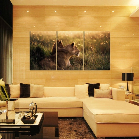 AFRICA LIONS split framed canvas print