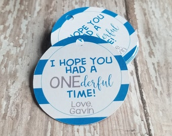 First Birthday Favor Tags, Onderful Time, First birthday with Stripes, I hope you had a wonderful time, Onederful, first birthday (259)