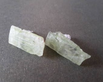 Stone earrings raw translucent pale green kyanite