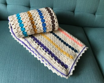 Bright striped throw blanket