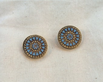 Vintage Star Facetted Gold and Blue Clip On Earrings