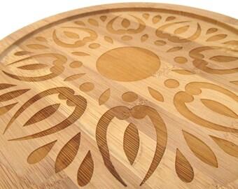 Wooden Engraved Lazy Susan - Sunburst Design - Bamboo Wood Turntable