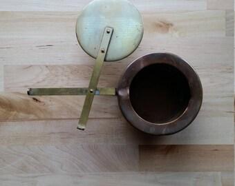 Copper pot with brass slide lid vintage, possibly antique