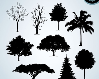 50% Off Sale - Tree silhouette clipart Tree clip art, Trees clipart, Silhouette clipart, Scrapbook clipart, Digital images Instant Download