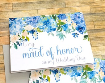 maid of honor thank you card - hydrangea wedding thank you card - to my maid of honor on my wedding day card - to my bridesmaid - ETERNITY