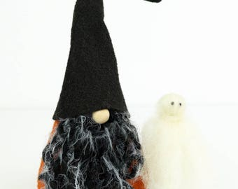 Halloween Gnome and Ghost, HORATIO, Nordic Gnome, Scandinavian Gnomes, Halloween Decor, Black Orange, Trick-or-Treat, Scary Halloween, Ghost