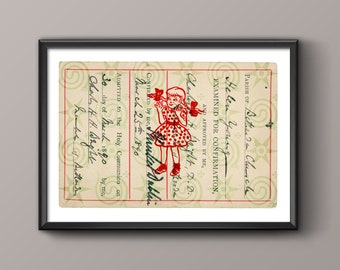Examined for Confirmation Collage Certificate // 1890 // Archival Giclée Print // Modern Decor