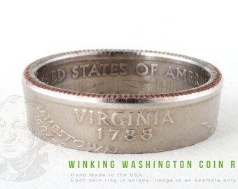 COIN RING - Virginia State - Handmade in the USA - All Sizes Available